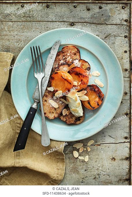 French toast with grilled apricots and almonds