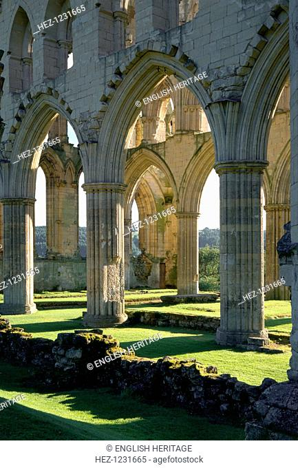 Rievaulx Abbey, North Yorkshire, 1997. Detail of the 13th-century arcade in the chancel of the monastery church at Rievaulx Abbey