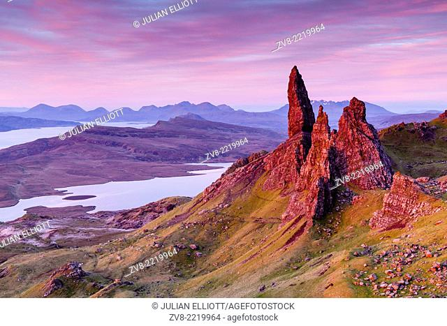 Pre-dawn light over the Old Man of Storr on the Isle of Skye, Scotland