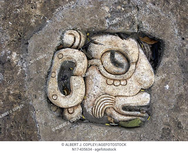 Maya glyph from Yucatan Peninsula, Mexico