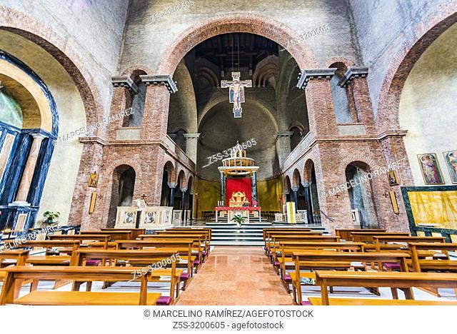 Interior of the sanctuary of Our Lady of Victory - Santuario di Nostra Signora della Vittoria - is a place of Catholic worship in Lecco