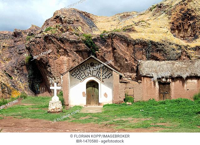 Chapel at a rock face, Bolivian Altiplano highlands, Departamento Oruro, Bolivia, South America
