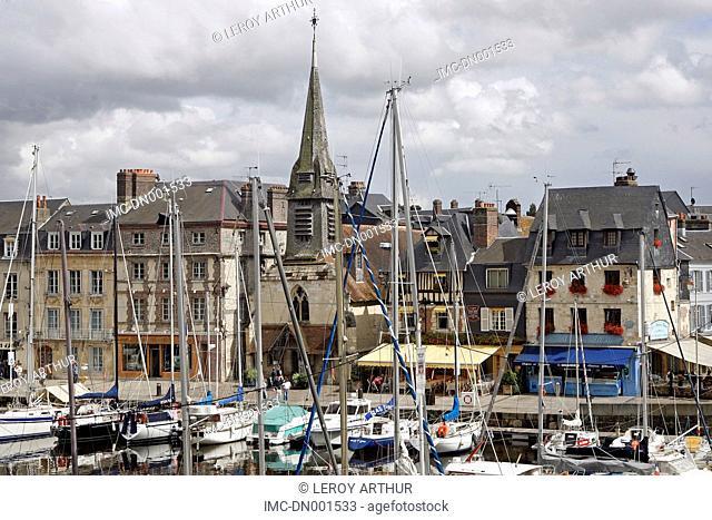 France, Normandy, Honfleur, the vieux bassin, church of Saint Etienne