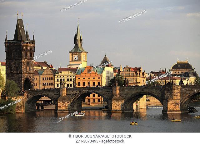 Czech Republic, Prague, Old Town, skyline, Vltava River, Charles Bridge,