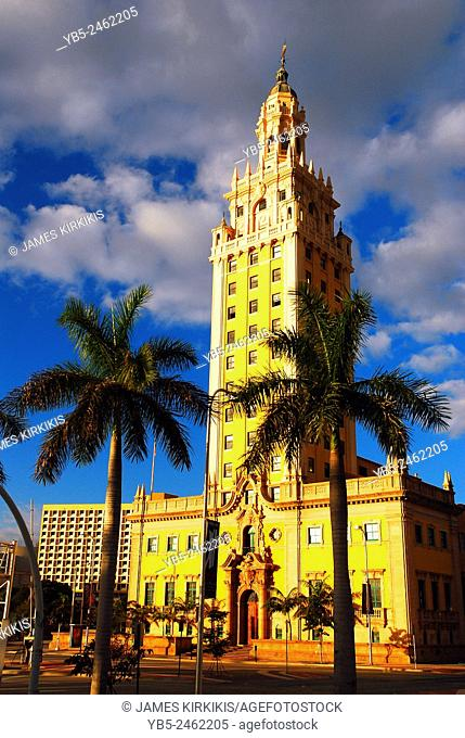 The Historic Freedom Tower Stands on the Waterfront in Miami Florida
