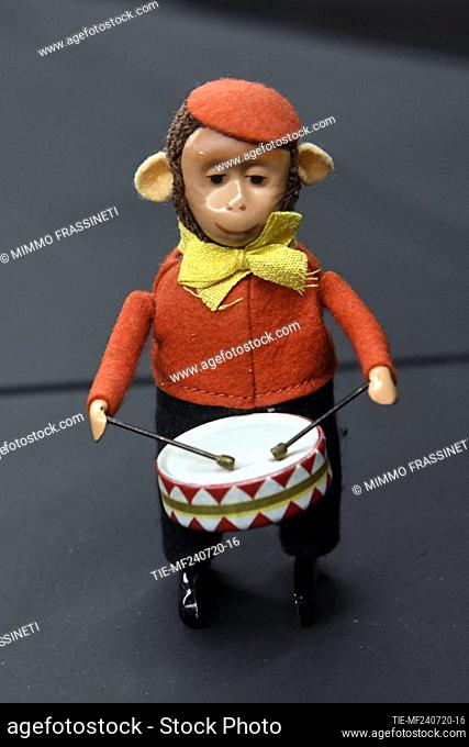 Monkey with drum in the exhibition titled ' Per gioco' from the collection of antique toys of the Capitoline Superintendence