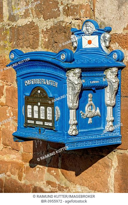 Mailbox, replica from 1896 on a sandstone wall, old town, Büdingen, Hesse, Germany