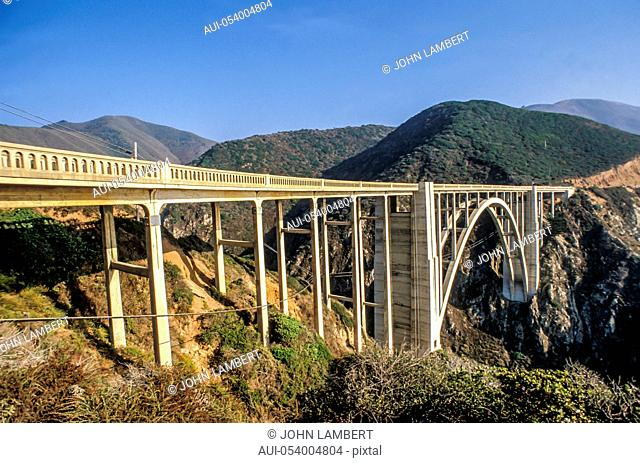 usa california big sur, bixby creek bridge and highway one