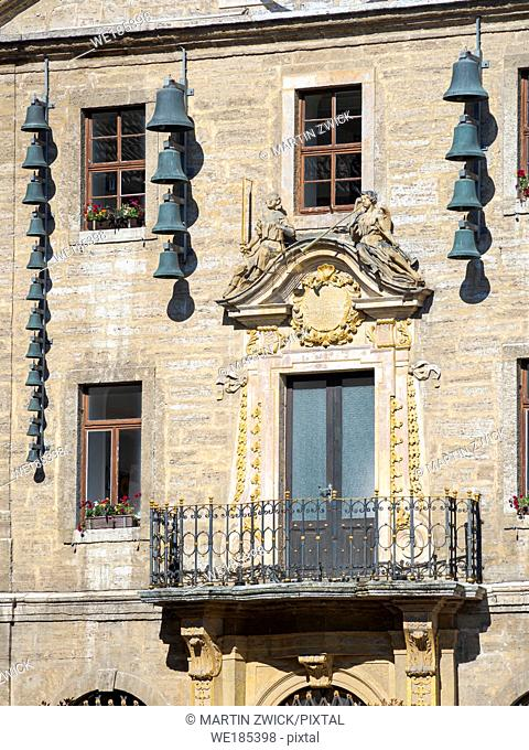The Town Hall with carillion. The medieval town and spa Bad Langensalza in Thuringia. Europe, Central Europe, Germany