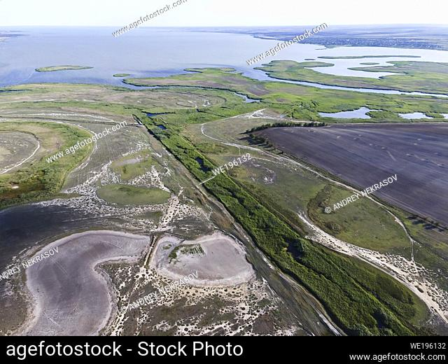 COGILNIC RIVER, TATARBUNARY RAION, ODESSA OBLAST, UKRAINE - JULY 15, 2020: Aerial view on Cogîlnic River