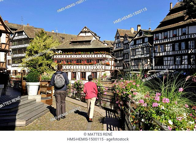 France, Bas Rhin, Strasbourg, old town listed as World Heritage by UNESCO, the Petite France District with the Maison des Tanneurs restaurant