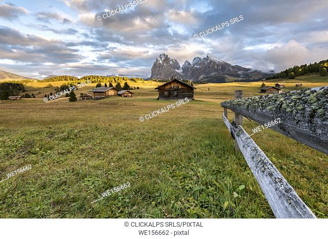 Alpe di Siusi/Seiser Alm, Dolomites, South Tyrol, Italy. Sunset on the Alpe di Siusi/Seiser Alm
