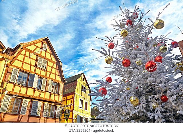 Typical half-timbering houses at Christmas time. Colmar. Wine route. Haut-Rhin. Alsace. France