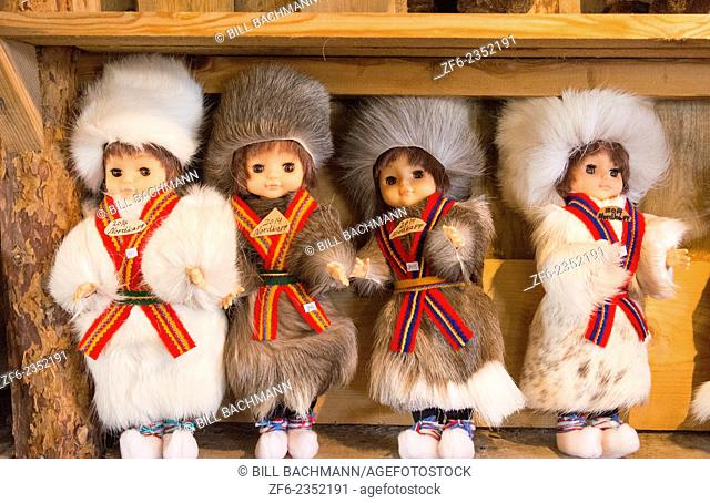 Honningsvag Norway cruise Hurtigruten Sami Tribal souvenirs of home made items at North Cape Northern most place in Europe