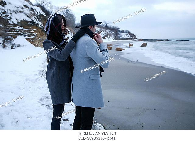 Couple on winter vacation, Odessa, Ukraine