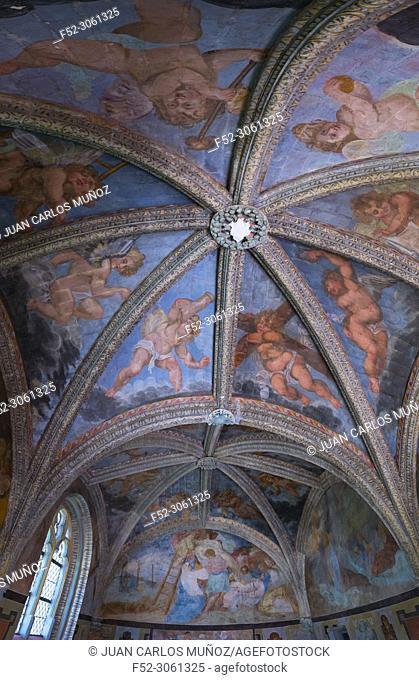 Frescoes of the Chapel, Villesavin Castle, Tour-en-Sologne, Loir-et-Cher Department, The Loire Valley, France, Europe