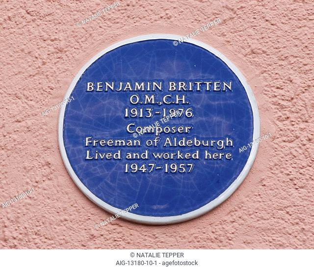 Blue plaque showing location of composer Benjamin Britten's place of residence and work, Aldeburgh, Suffolk, England