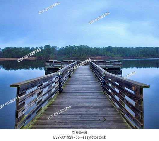Handicapped fishing dock at Upchurch Lake in the early morning