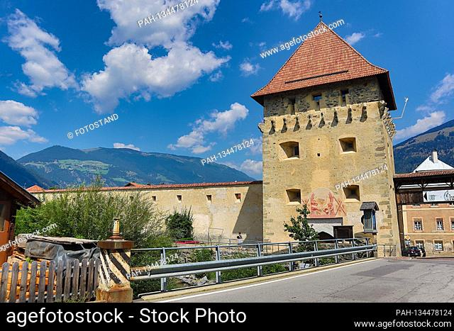 South Tyrol, Italy July 2020: Impressions of South Tyrol July 2020 Glurns, Vinschgau, South Tyrol, market square, smallest town in the Alps