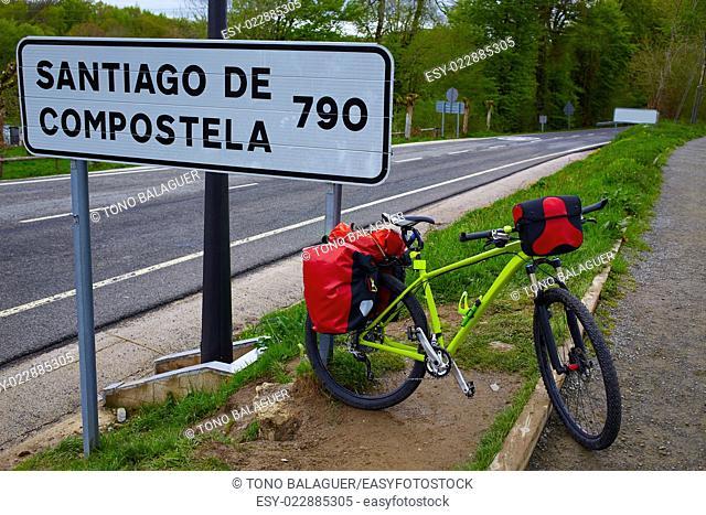 Roncesvalles begin of Way of Sain James biking sign of 790 km to Santiago