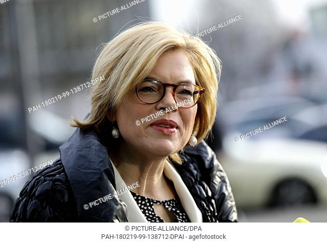 19 February 2018, Germany, Berlin: Julia Kloeckner (Christian Democratic Union), deputy CDU federal chairwoman arrives at the Konrad Adenauer House for...