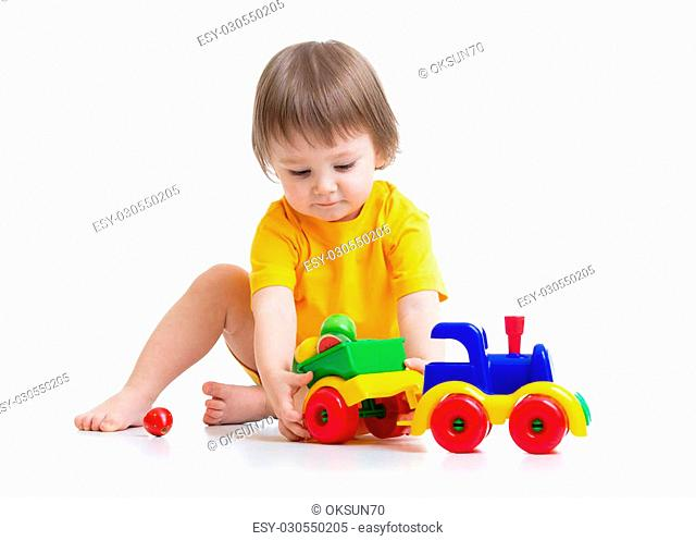little boy kid playing with car toy isolated
