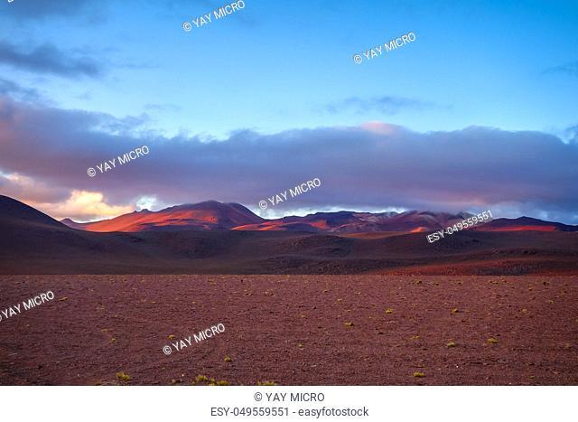 sunset on altiplano mountains in sud Lipez reserva Eduardo Avaroa, Bolivia