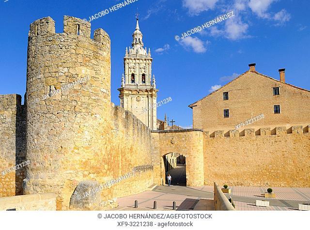 Door of the wall and Cathedral of Burgo de Osma. Soria province. Castilla y León. Spain