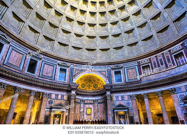 Dome Pillars Altar Pantheon Rome Italy Rebuilt by Hadrian in 118 to 125 ADthe Second Century Became oldest Roman church in 609 AD