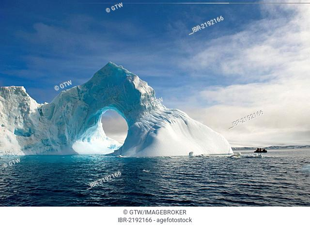 Natural arch carved in an iceberg, Antarctic Sound, Antarctic Peninsula, Antarctica