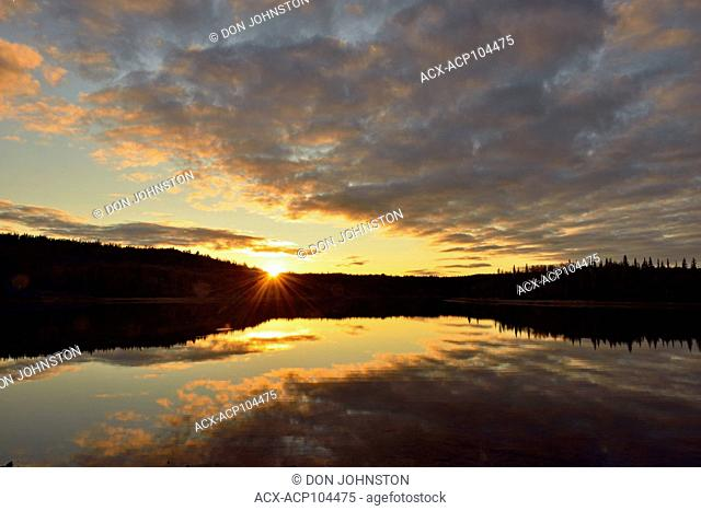 Sunset skies reflected in Prosperous Lake, Yellowknife, Prosperous Lake Territorial Park, Yellowknife, Canada