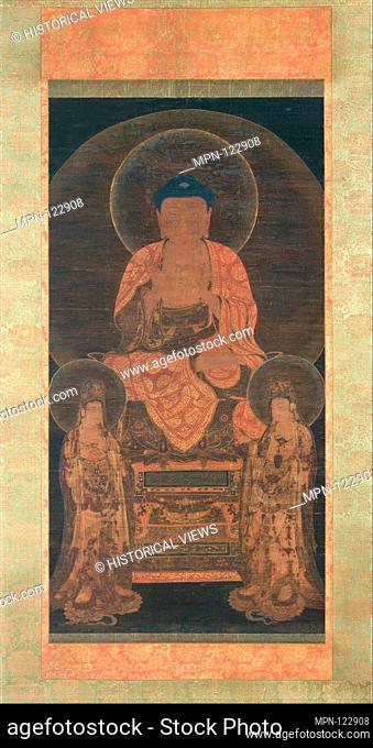 Amitabha triad. Artist: Unidentified Artist; Period: Goryeo dynasty (918-1392); Date: ca. 13th century; Culture: Korea; Medium: Hanging scroll; ink