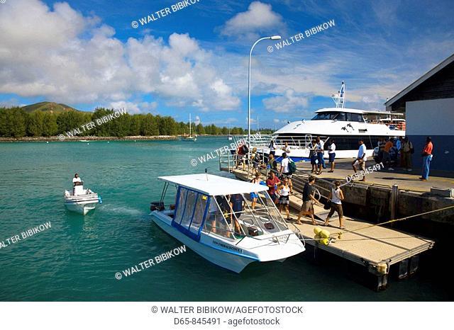 Ferry jetty, small launch, Baie St. Anne, Praslin island, Seychelles
