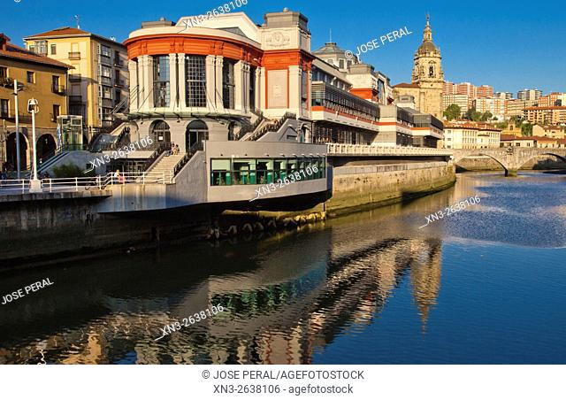Mercado de la Ribera, Ribera Market, located on the right bank of the Nervion River next to the Casco Viejo, Bilbao, Biscay, Basque Country, Spain, Europe