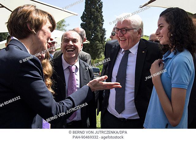 The German president Frank-Walter Steinmeier (C) and his wife Elke buedenbender (R) visit the Givat Haviva education centre in Menashe, Israel, 8 May 2017