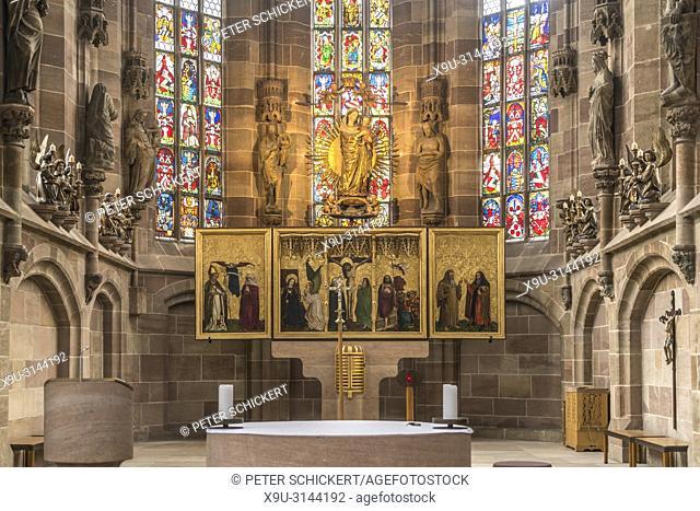 Tucheraltar in der Frauenkirche am Hauptmarkt, Nürnberg, Bayern, Deutschland   Tucher Altar, Frauenkircher, Nuremberg, Bavaria, Germany