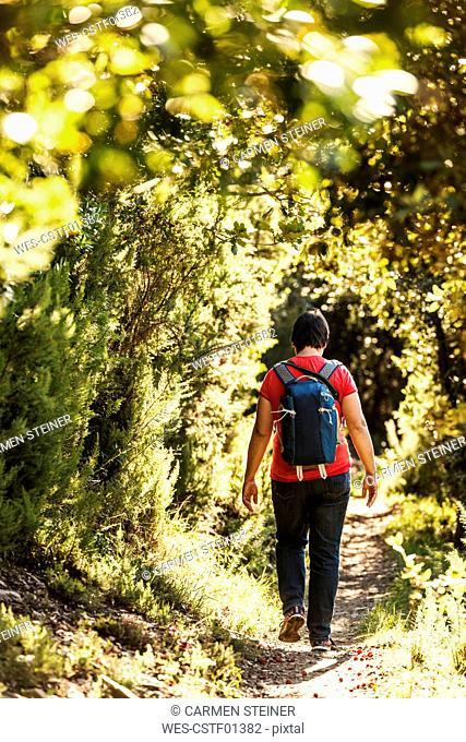 Italy, Liguria, Cinque Terre, hiker on trail