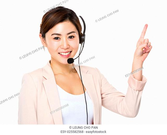 Customer services representative and finger point up