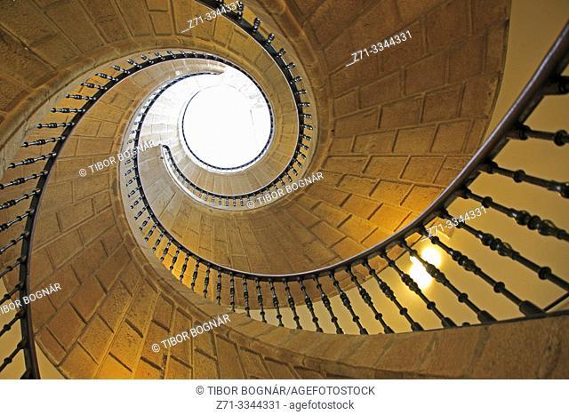Spain, Galicia, Santiago de Compostela, Santo Domingo de Bonaval Convent, spiral staircase,