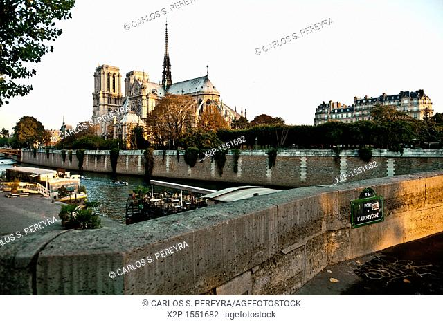 View of Notre Dame and Seine River, Paris, France