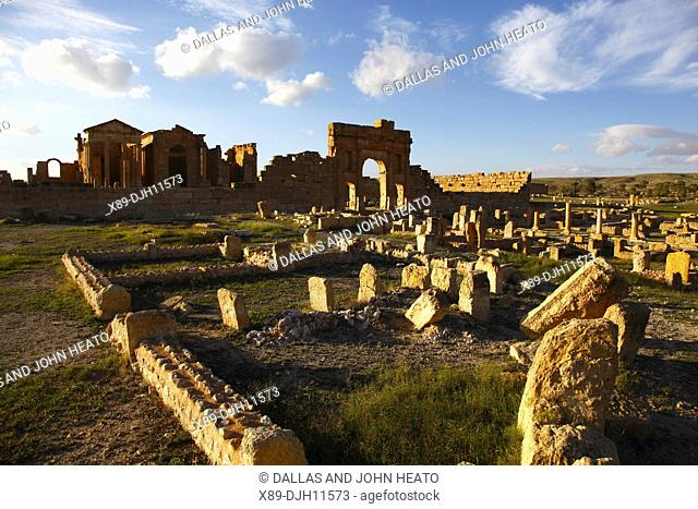 Africa, North Africa, Tunisia, Sbeitla Archaeological Site, Roman Ruins, View to Forum
