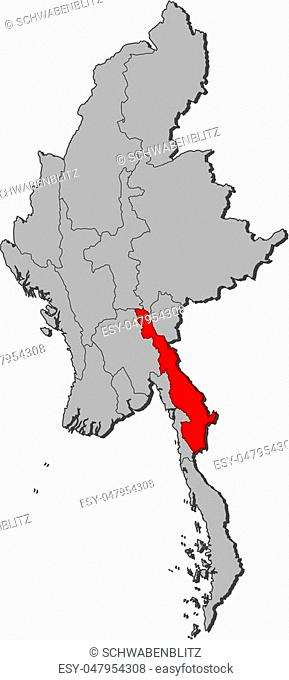 Map of Myanmar with the provinces, Kayin is highlighted