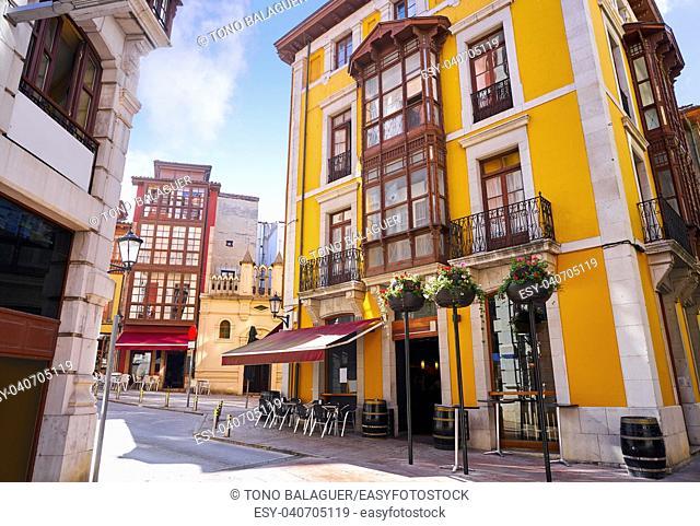 Llanes village facades in Asturias of Spain