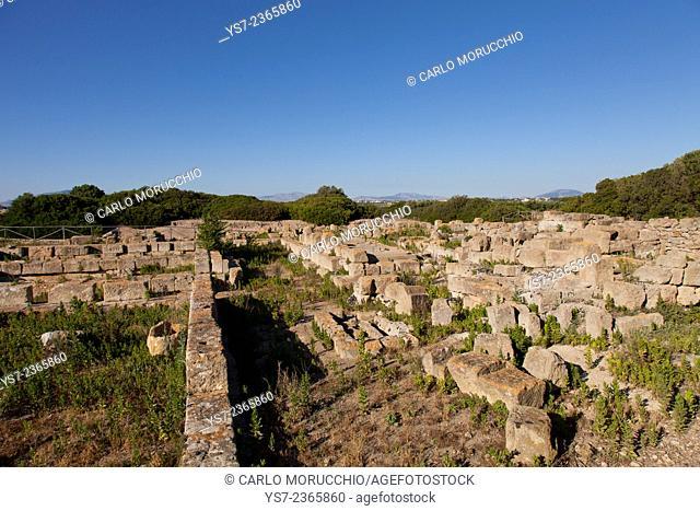 Phoenician archeological site of Motya, St. Pantaleo island, Stagnone Lagoon, Marsala, Sicily, Italy, Europe