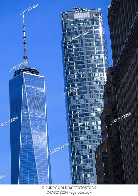 One World Trade Center (also known as One WTC, 1 World Trade Center, 1 WTC, or Freedom Tower. New York City, US. Is the main building of the rebuilt World Trade...