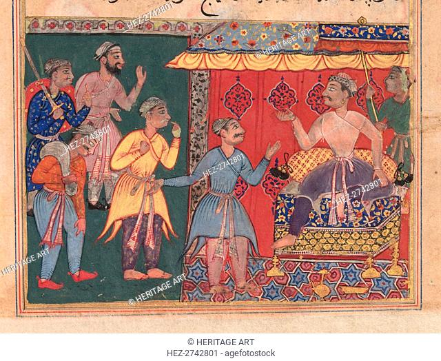 Tales of a Parrot (Tuti-nama): The Twelfth Night: King Bhojaraja tries in vain to ascertain.., c. 1 Creator: Unknown