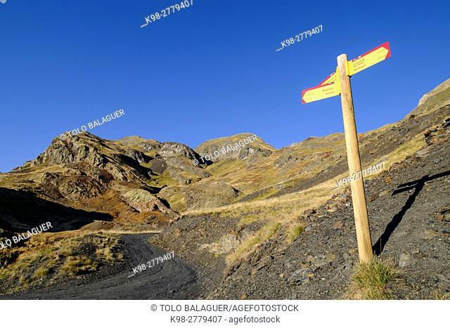 Des Calhaus path, Aran , Lleida province, Pyrenean mountain range, Catalonia , Spain