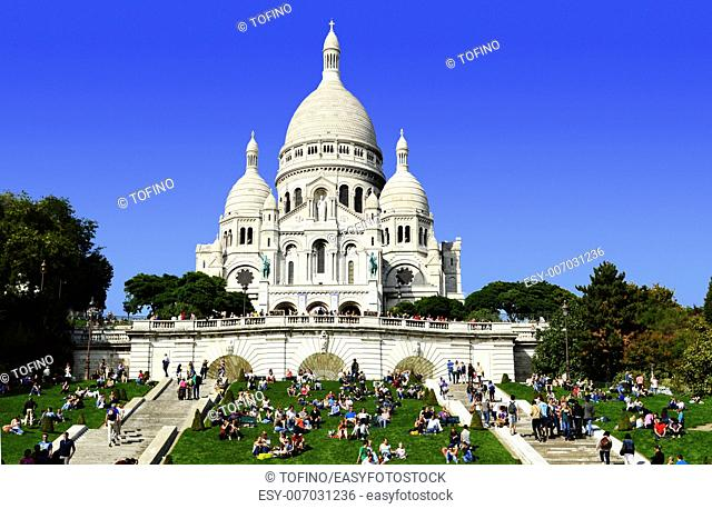 Basilica Sacre Coeur (Sacred Heart of Jesus) on Montmartre in Paris, France