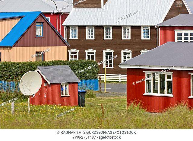 Houses and satellite dish in the small village of Eyrarbakki, Iceland