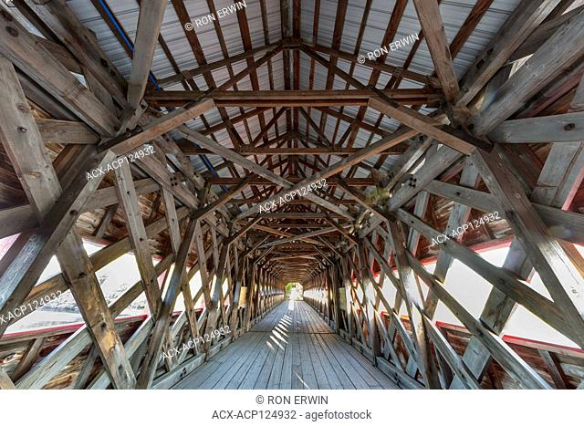 Inside the Wakefield Covered Bridge at Wakefield, Quebec, Canada